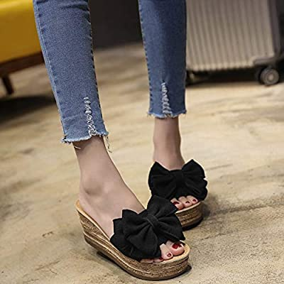 Zarbrina Women Flip Flops Ladies Summer Platform Thong Wedge Beach Slipper Knot Bow Solid Color Kitten Heels Shoes