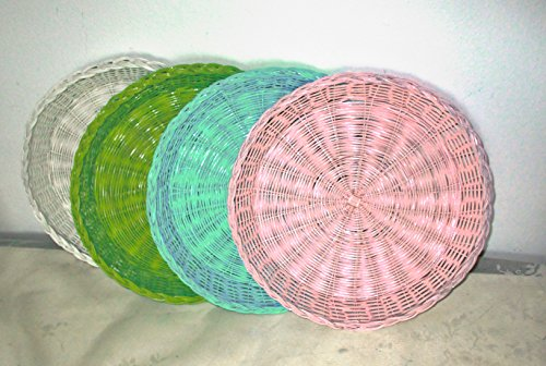 Table Rattan Painted (Four Wicker Paper Plates Holders, Picnic and Party Supplies, Outdoor Dining, Al Fresco, Table Decor, Summer Colors, Beach and Pool Parties, Serving and Dining, Kitchen Decor)