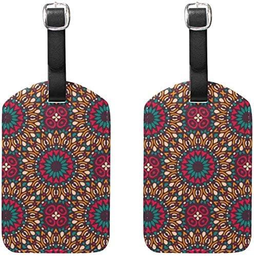 荷物タグ2個ポータブルアドレス名タグホルダー識別子ラベルチェックカードトラベルバッグスーツケースSeamlパターンマンダラ