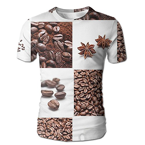 - Edgar John Coffee with Roasted Beans Concept Collage Hearts Stars Espresso Latte Mugs Aroma Men's Short Sleeve Tshirt XXL