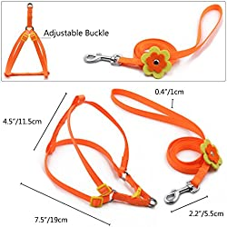 Cute Dog Harness For Girls or Boy Dseap Fashion Beauty Flower Clip Series Adjustable Small Animal Puppy Dog Cat Leashes Collars Lead Chest Straps Chain Rope for Little Pet.Orange