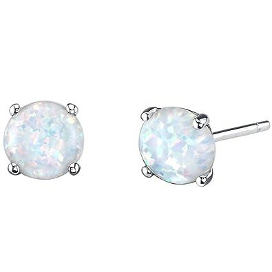 Black Opal 6mm Princess Cut Stud Earrings White Gold Silver