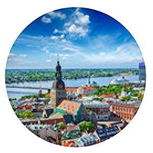 alfombrilla de ratón Vista aérea del centro de Riga de la iglesia de San Pedro, Riga, Letonia - ronda - 20cm