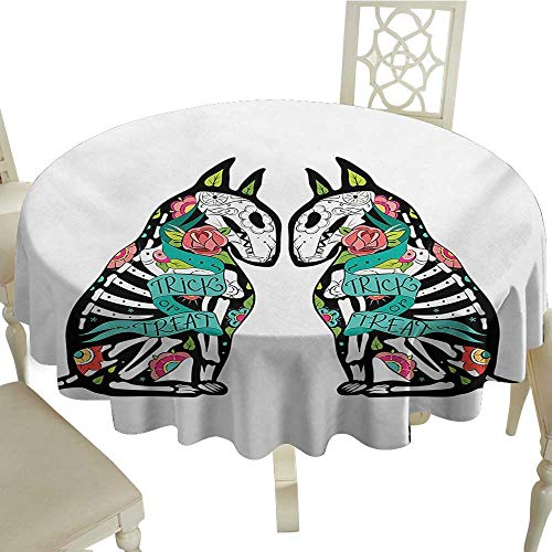 100% Polyester Washable Table Cloth for Circular Table 36 Inch Halloween,Skeleton Demon Figures Flowers and Trick or Treat Quote Ethnic Holiday Design,Multicolor Suitable for Party,outdoors,Farmhouse, -