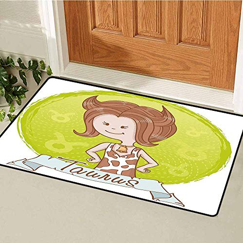 Caramel Apples Wisconsin - Gloria Johnson Taurus Commercial Grade Entrance mat Cute Cartoon Little Girl Dressed Like Cow with Spots and Horns Image for entrances garages patios W23.6 x L35.4 Inch Light Caramel Apple Green