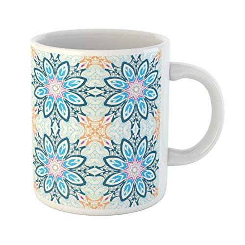 Semtomn Funny Coffee Mug Blue Abstract Mandalas Endless Pattern Fills Orange Asian Azure 11 Oz Ceramic Coffee Mugs Tea Cup Best Gift Or ()
