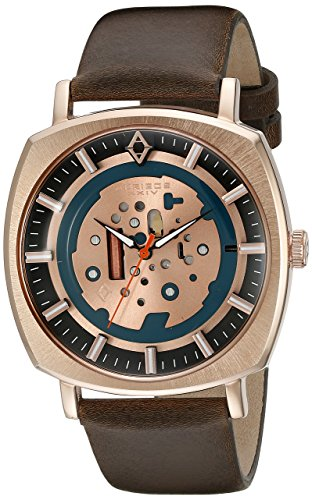 Akribos XXIV Men's AK826SSBR Quartz Movement Watch with Silver and Blue Dial and Brown Leather Strap