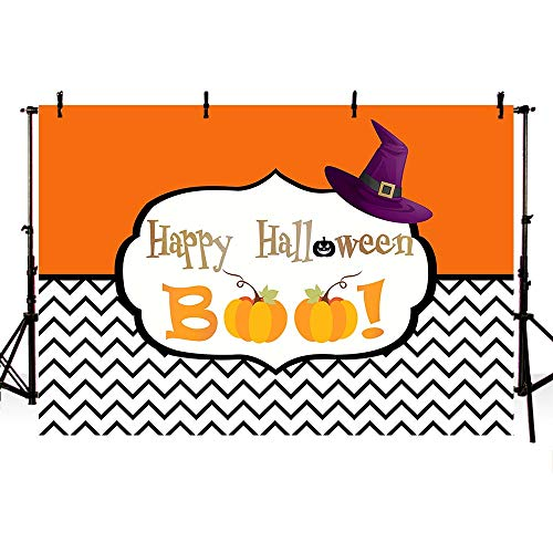 COMOPHOTO Halloween Apple Biting Theme Party Backdrop 8x6ft Photography Background Halloween Pumpkin Stripe Decoration for Trunk or Treat ()
