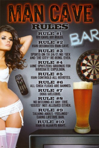 Man Cave Rules Novelty Humor Sexy College Poster Print