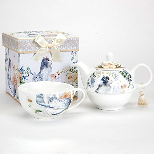 Bits and Pieces - Adorable Single Serving Kitty Tea Set - Cat Tea Set for One - Porcelain Teapot and Cup Combination ()