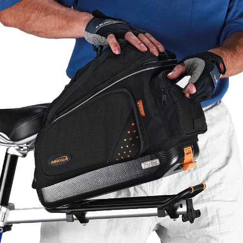 Ibera Bike Trunk Bag - PakRak Clip-On Quick-Release Bicycle Commuter Bag (Rear Trunk Bag)