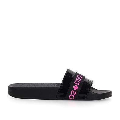meilleure sélection véritable Royaume-Uni disponibilité Dsquared2 Chaussures Femme Claquette Acid Tape Noir Fuchsia ...