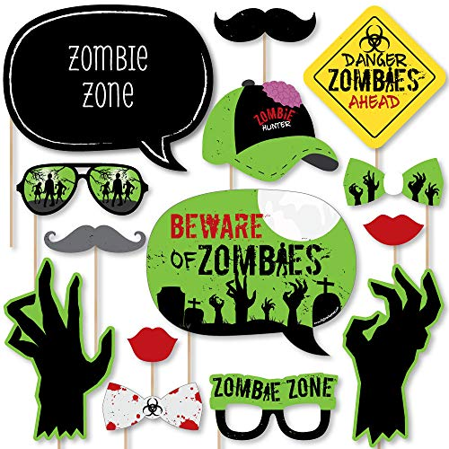 Big Dot of Happiness Zombie Zone - Halloween or Birthday Zombie Crawl Party Photo Booth Props Kit - 20 Count ()