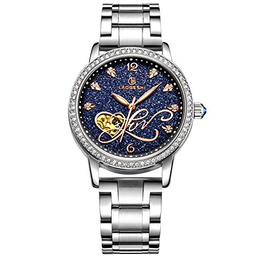 RORIOS Women Automatic Mechanical Watch Shining Starry Sky Luminous Simulated Diamond Dial Stainless Steel Strap Ladies…