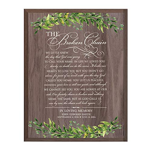 (LifeSong Milestones Personalized Broken Chain Sympathy Gifts for Loss of Loved one Bereavement Wall Plaque for Loss of Mother Father Child with Leaf Border (Salt)