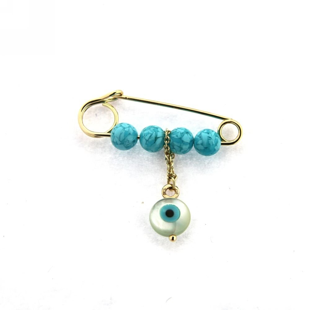 18Kt Yellow Gold turquoise beads and hanging Eye Pin