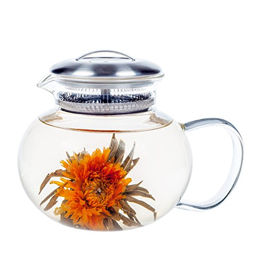 Glass Teapot Elitea 40oz Clear Blooming Tea Pot Large Stovetop for Flowering Tea and Loose Leaf Tea (Teapot Drip)