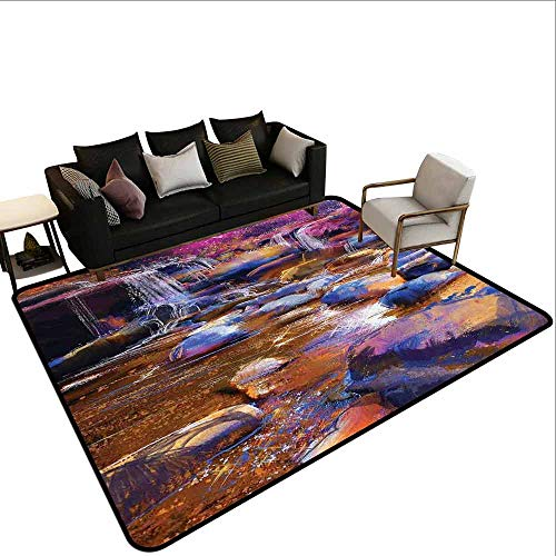 (Waterfall, Anti-Static Area Rugs, Painting of Fairy River Amongst Colorful Rocks Myst Artistic Universe, Area Rug Door Mat 6.6x10 Feet Chocolate Pink Teal)