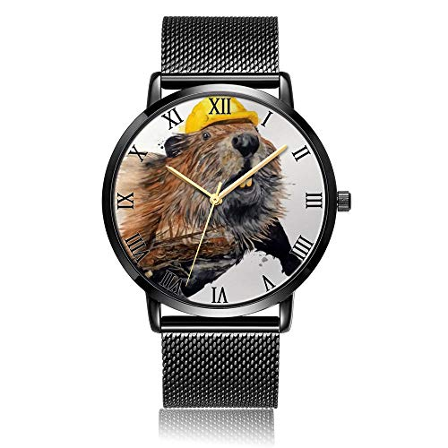 Whiterbunny Customized Beaver with Hat Wrist Watch Unisex Analog Quartz Fashion Black Steel Bracelet Wristwatch for Women and Men