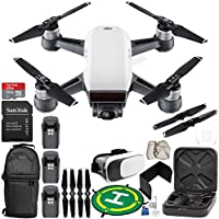 DJI Spark Portable Mini Drone Quadcopter (Alpine White) EVERYTHING YOU NEED Ultimate Bundle