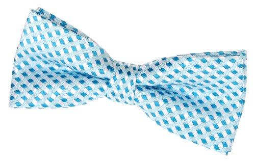 "Retreez Wavy Zig Zag Stripe Pattern Woven Pre-tied Bow Tie (4.5"") - Turquoise"