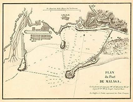 Map Of Spain Malaga.Amazon Com Port Of Malaga Plan Du Port De Malaga Spain