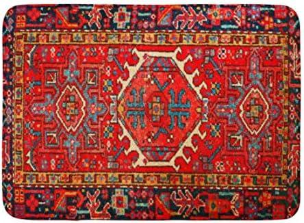 Stylish Red Flower Boho Style Bathroom Shower Rug Warm Flannel Carpet Door Mat
