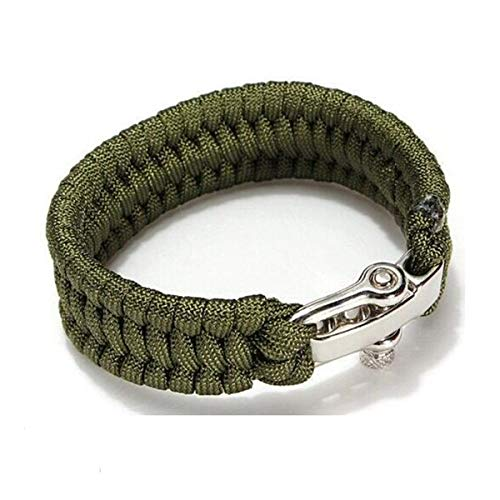 ReachTop Paracord Survival Bracelet with Adjustable Stainless Steel D Shackle for Men Women Youth, Size Fit for 7 to 8 Inch Wrists, Outdoor Sport Emergency Survival Accessories, Army Green by ReachTop