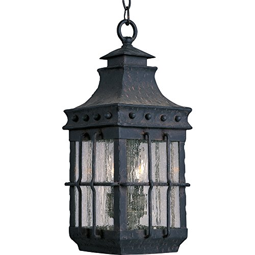 (Maxim 30088CDCF Nantucket 3-Light Outdoor Hanging Lantern, Country Forge Finish, Seedy Glass, CA Incandescent Incandescent Bulb , 40W Max., Dry Safety Rating, Standard Dimmable, Fabric Shade Material, Rated Lumens)