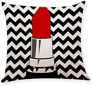 JiaMeng Fundas De Cojines, Funda de cojín para Mujer Estilo Moda Funda de Almohada Almohada Funda de Almohada geométrica Simple 45cm x 45cm