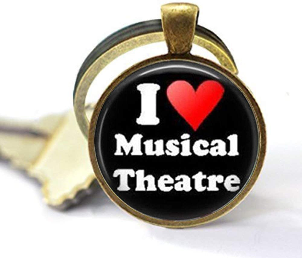Musical Theater Key Chain -I Love Musical Theater,Broadway Musical,Musicals,Acting Art Glass Photo Jewelry,Personalized Gifts