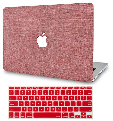 "KECC Laptop Case for Old MacBook Pro 13"" Retina (-2015) w/Keyboard Cover Plastic Hard Shell Case A1502/A1425 2 in 1 Bundle (Red Fabric)"