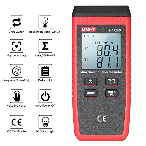 UNI-T UT320D Mini LCD Digital Thermometer 2-Channel Type K/J Thermocouple Sensor -50~1300°C/-58~2372°F Data Hold Function by UNI-T (Image #5)
