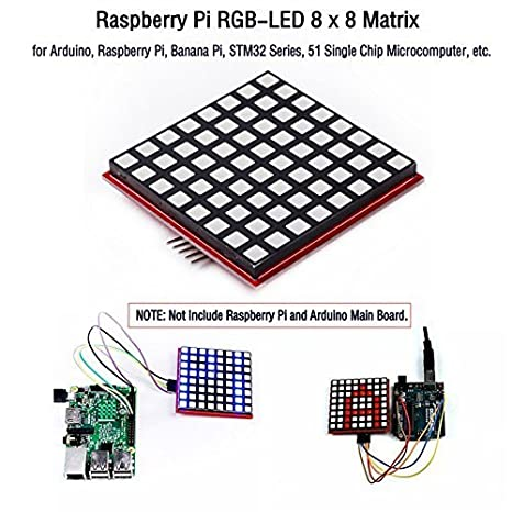 Amazon com: CQRobot Raspberry Pi RGB-LED 8x8 Matrix, Base on 74HC595