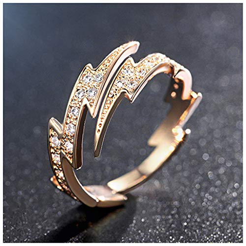 MIXIA 18K Rose Gold Tone Adjustable Open Finger Rings Lightning Bolt for Women Shining Cubic Zircon CZ Ring Fashion Jewelry (18K Rose Gold)