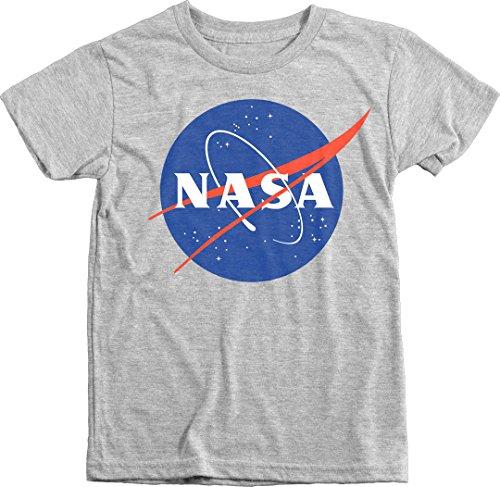Universe Tri Blend T-shirt - Trunk Candy Kids NASA Space Program Meatball Logo Premium Tri-Blend T-Shirt (Heather White, L(10/12))
