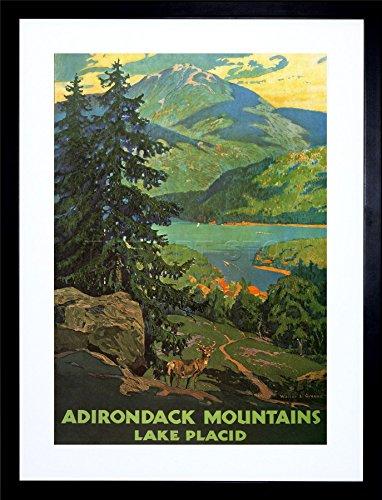 Travel Adirondack Mountains Lake Placid Tree Art Frame Print Picture F12X1186 ()
