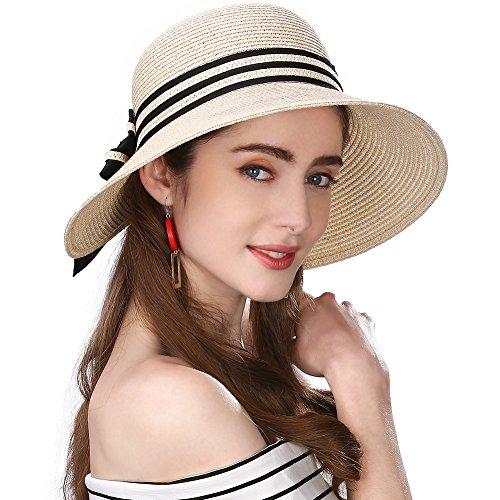 (Siggi Floppy Summer Sun Beach Straw Hats for Women Accessories Wide Brim UPF 50 Packable 56-58cm Beige)