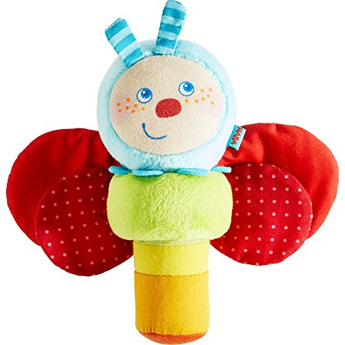 HABA Soft Clutching Figure Caterpillar Mina - Two Piece Plush Set with Rattling Caterpillar and Crinkling Foil Butterfly Wings