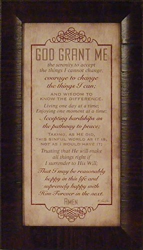God Grant Me by Lauren Rader 11x19 Serenity Prayer Religious Inspirational Framed Art Print Picture