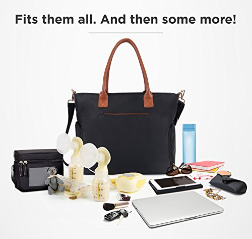 Breast Pump Bag for Work with Rich Tan Handles Staging Mat Sophisticated Design That Suits Workplace Thermally Lined Compartments Perfect Gift for New Moms (Solid Black) by flybold (Image #3)