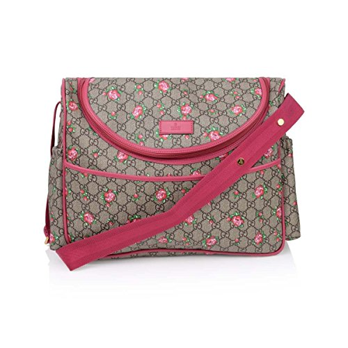 Gucci Rose Bud Zip Pink Print GG Canvas Diaper Bag Beige Girl Baby Italy New ()