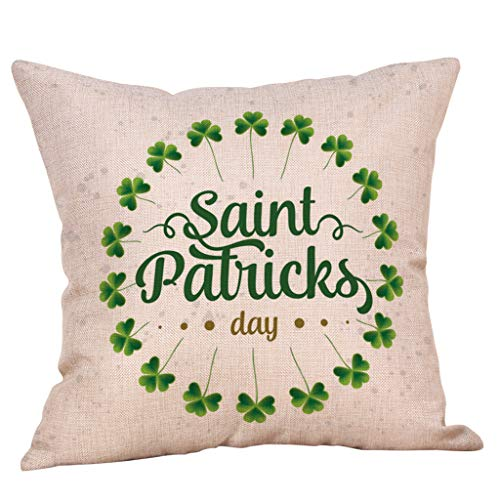 Irish Shamrock Throw Pillow Case Green Leprechauns Cushion Cover for St. Patricks Day Decor Bedroom Home Sofa Office Car 18 x 18 Inch Cotton Linen (C)