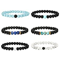 FUNRUN JEWELRY 6PCS Bead Bracelets for Men Women Natural Stone Mala Bracelet Elastic