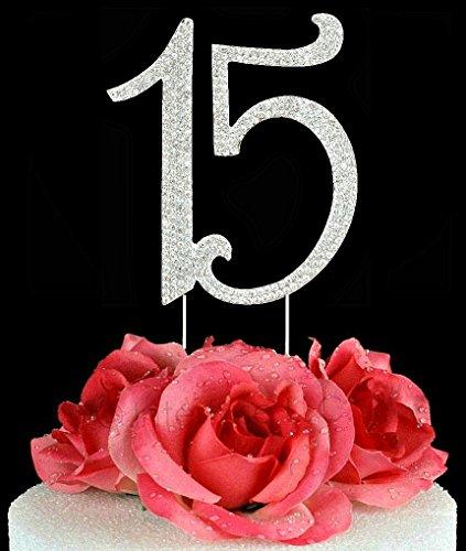 Quinceanera Pen (Lulu Sparkles LLC Quinceanera 15 Rhinestone Crystal Cake Topper 15 Birthday Anniversary Diamante Bling Monogram Numbers Cake Topper Bonus Stylus Pen Gift)