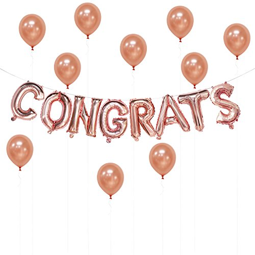 (Congrats Rose Gold Balloons Banner, 16 inch | Congrats Decorations for Graduation, Birthday, Wedding, Promotion, Anniversary, Retirement | Free 10pcs Rose Gold Latex Balloons 12)