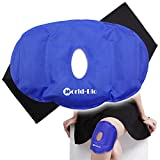 Knee Ice Pack Gel Reusable for Pain Relief Swelling Sports Injuries Light Blue,Breathable Design with Adjustable Wrap, (9.6''X 6.5'')
