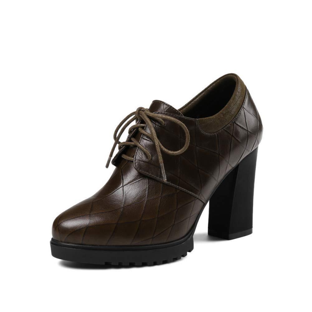 Ai Ya-liangxie Frühling Neue Frauen Schwarz Echtes Leder Schnürschuhe Frauen Neue Pumpen Mode Plattform High Heels Ol Eckappliken Schuhe Frau 77445b