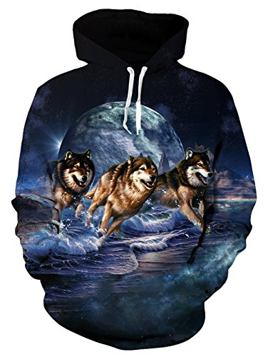 Loveternal Unisex Wolf Moon Hoodies Printed Cool Lightweight Crewneck Pullover Hooded Sweatshirts for Womens Mens ()