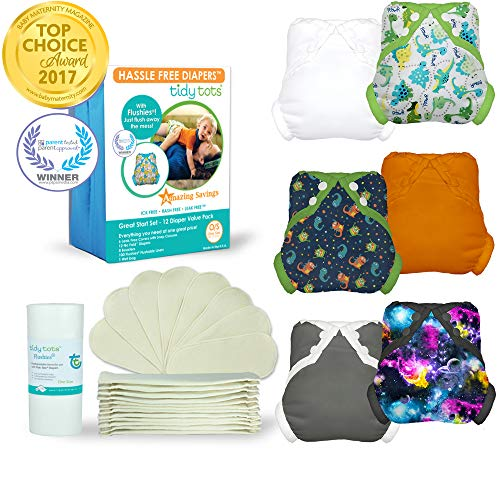 Tidy Tots Diapers Hassle Free 12 Diaper Snap Great Start Set With Dinosaur, Monsters, Galaxy, Grey, Orange, and White Covers